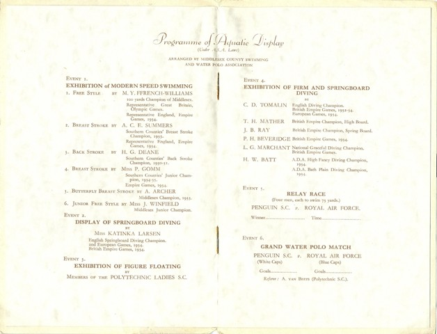 1935 Programme for Uxbridge Lido opening ceremony