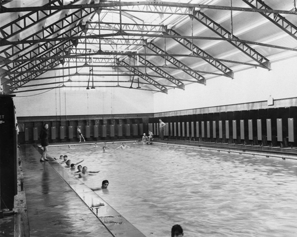 Swimming instruction at Lime Grove Baths - second class pool