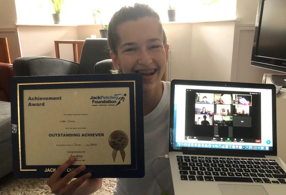 Lize with her Jack Petchey Award for June 2020