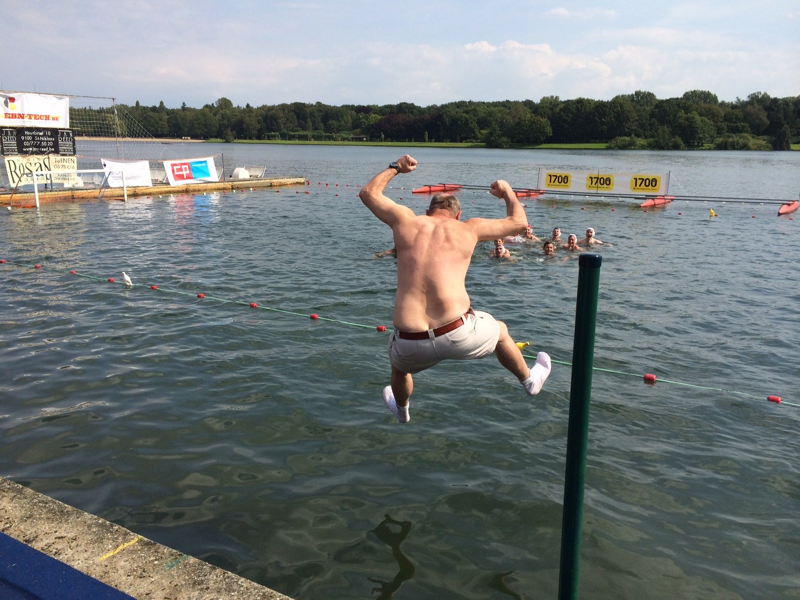 SDteve Baker jumping into the lake still wearing his clothes
