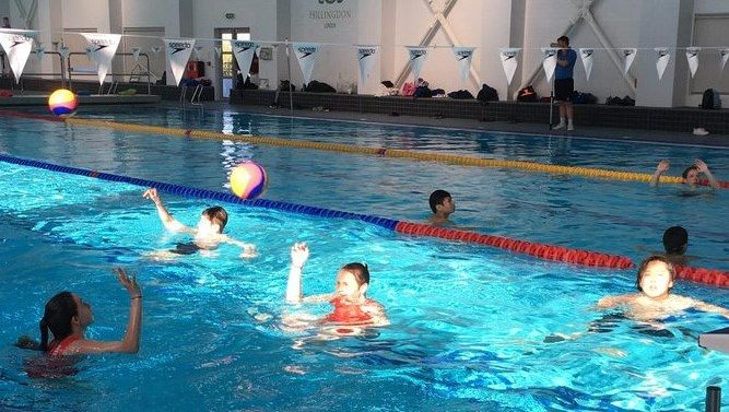 Children playing water polo