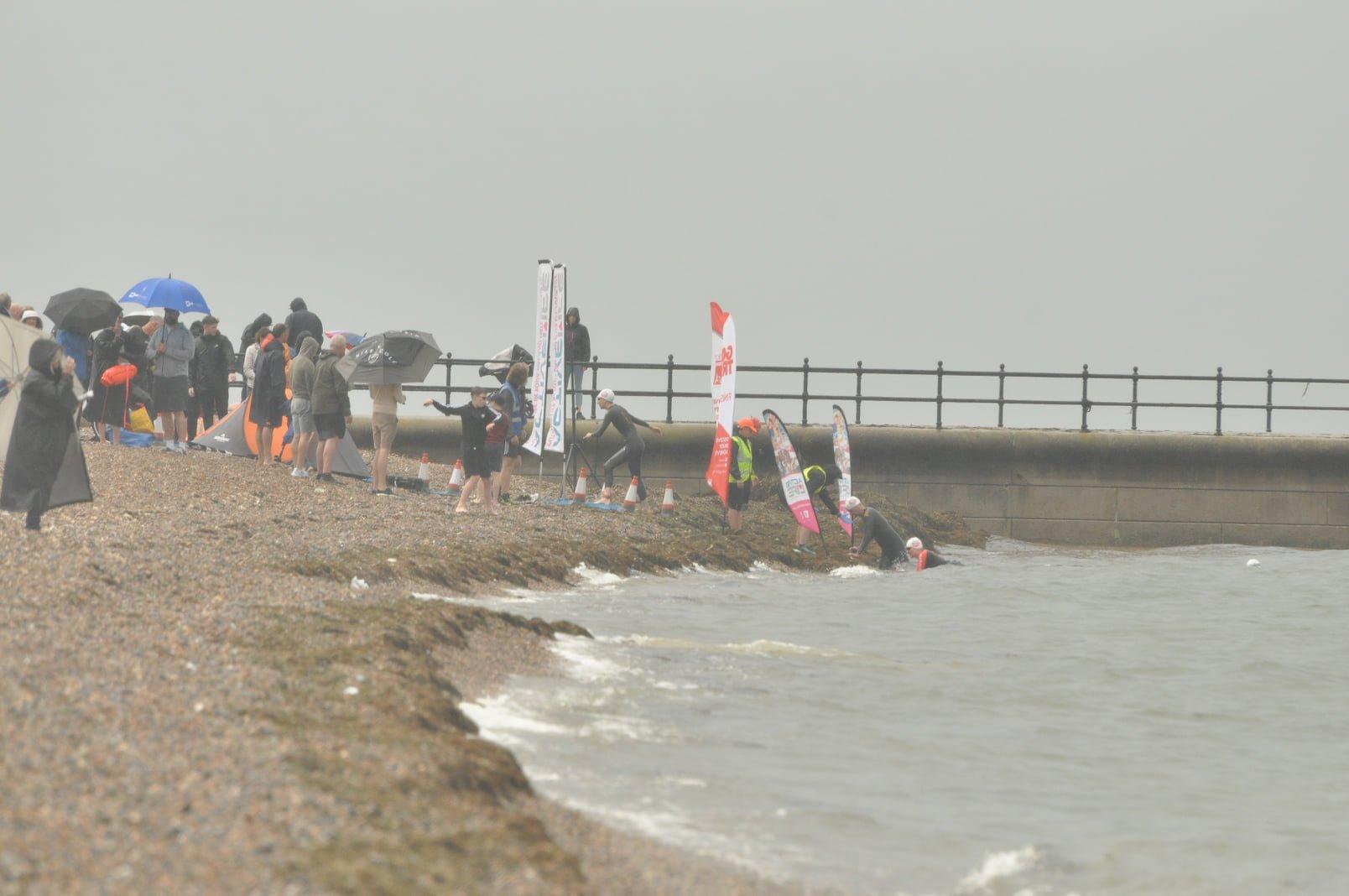 view of the beach towards the swim start line